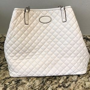 Coach White Quilted Tote Bag